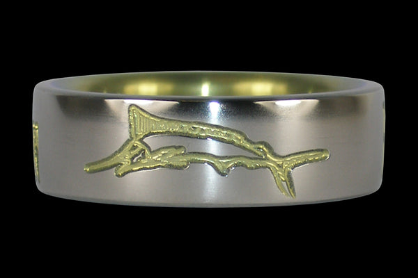 Marlin Engraved Titanium Ring Anodized Yellow