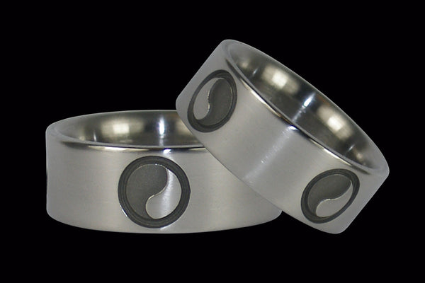Yin and Yang Titanium Ring Set