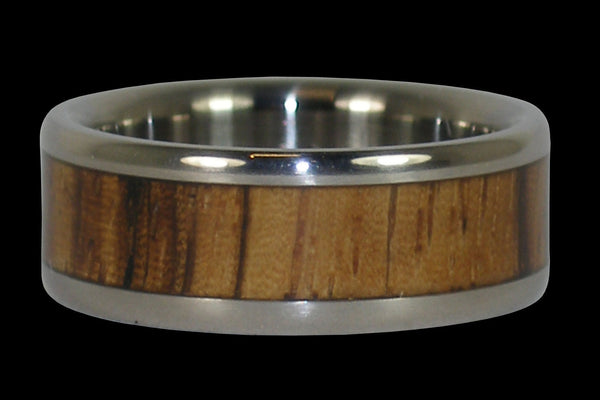 Zebra Wood Titanium Ring Band