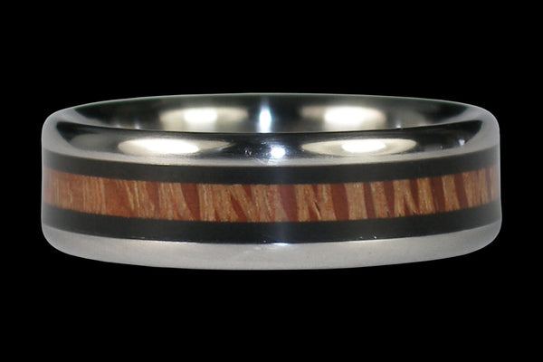 Wood Inlay Titanium Ring for Men and Women