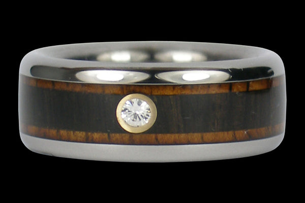 Diamond Titanium Ring with Wood Inlays