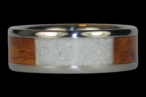 White Coral Hawaii Titanium Ring® with Curly Koa Wood