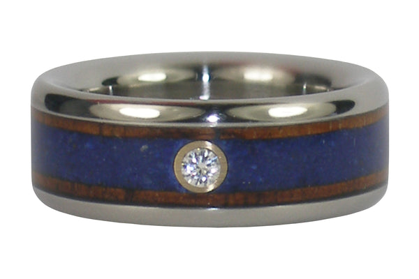 Ambiona and Lapis Titanium & Diamond Hawaii Titanium Ring®