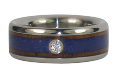 lapis and diamond titanium wood ring