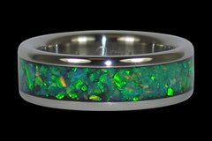 Black Kiwi Green Opal Titanium Ring - Hawaii Titanium Rings  - 1