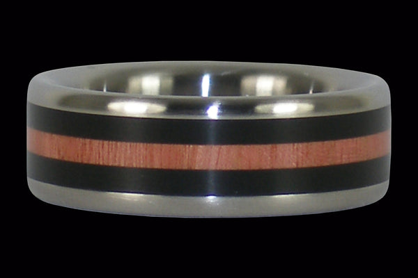 Black Wood and Pink Ivory Titanium Ring