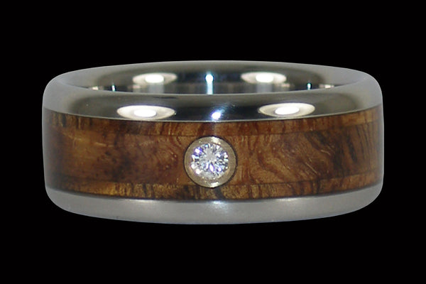 Hawaiian Tiger Koa Diamond Titanium Ring