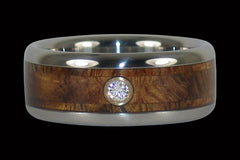 Hawaiian Tiger Koa Diamond Titanium Ring - Hawaii Titanium Rings  - 1