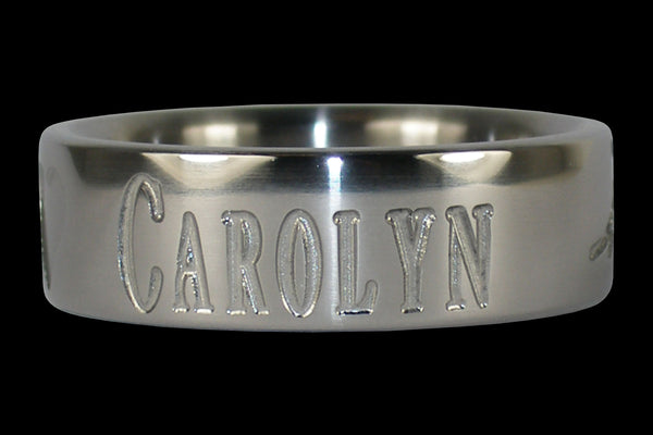 Titanium Ring Engraved with Name