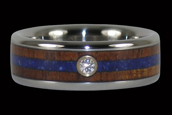 Dark Koa and Lapis Diamond Hawaii Titanium Ring® Band