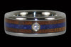 Dark Koa and Lapis Diamond Ring Band - Hawaii Titanium Rings  - 1