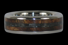Black Carbon Fiber and Koa Titanium Ring - Hawaii Titanium Rings  - 1