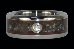 Black Pearl and Koa Diamond Titanium Ring - Hawaii Titanium Rings  - 1