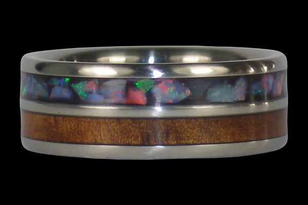 Australian Opal and Hawaiian Koa Titanium Ring