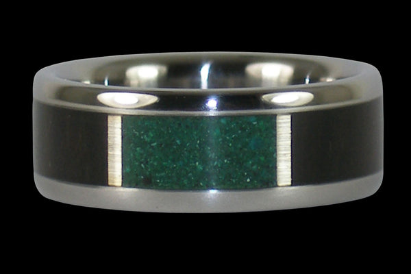 Blackwood Titanium Ring with Blue Chrysocolla