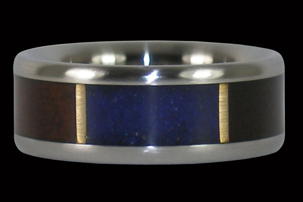 Hawaiian Milo and Lapis Titanium Ring