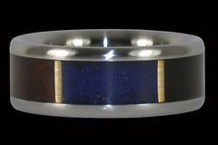 Hawaiian Milo and Lapis Titanium Ring - Hawaii Titanium Rings