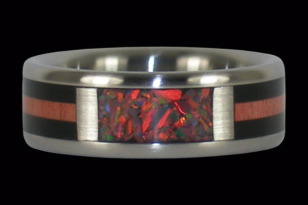 Red Lab Opal Titanium Ring Band