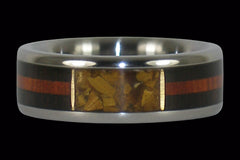 Gold Tigers Eye Titanium Ring with Wood Inlay - Hawaii Titanium Rings