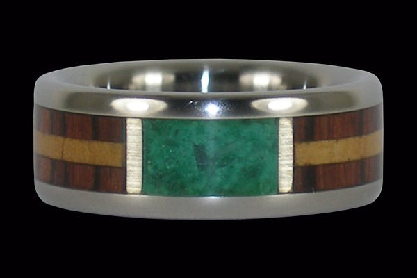 Exotic Wood and Malachite Titanium Ring