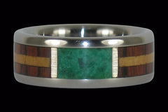 Exotic Wood and Malachite Titanium Ring - Hawaii Titanium Rings