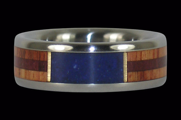 Lapis Titanium Ring with Wood inlays