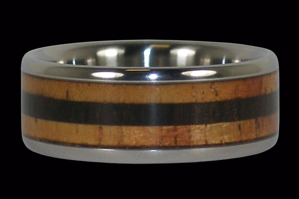 Blackwood and Fire Koa Titanium Ring Band