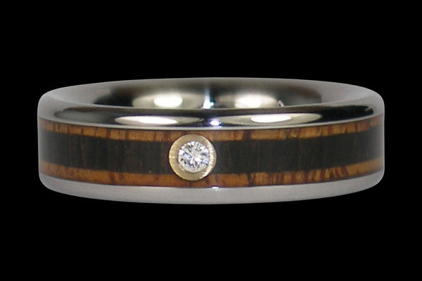 Blackwood and Koa Diamond Titanium Ring