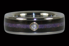 Purple Stone Blackwood Titanium Diamond Ring - Hawaii Titanium Rings