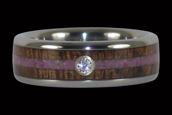 Diamond Titanium Rings with Koa and Sugilite