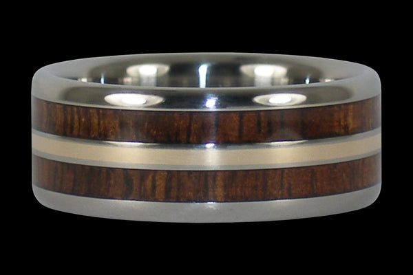 Hawaiian Koa Wood Titanium Ring with Gold Inlay