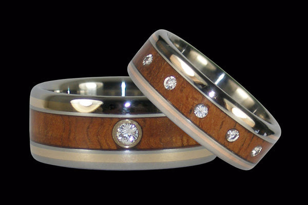 Gold and Koa Wood Inlay Titanium Diamond Rings