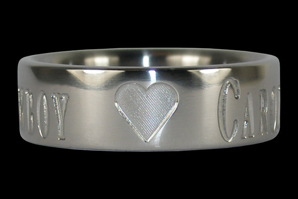 Titanium Ring with Sweethearts Name