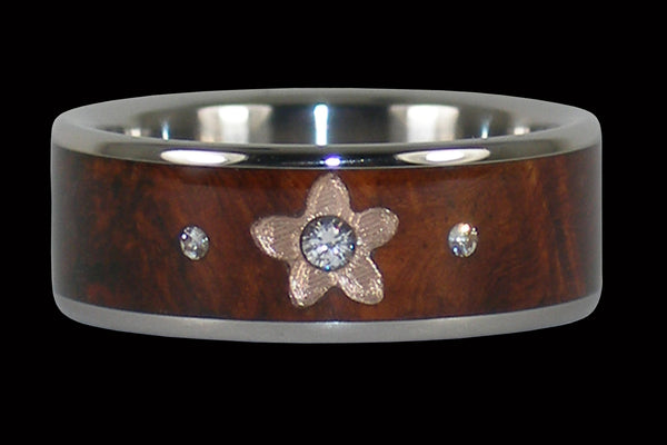 Island Princess Plumeria Flower Diamond Titanium Ring
