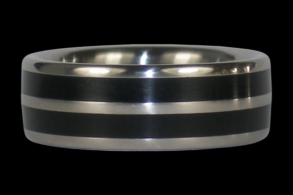 Double Banded Black Jet Titanium Ring