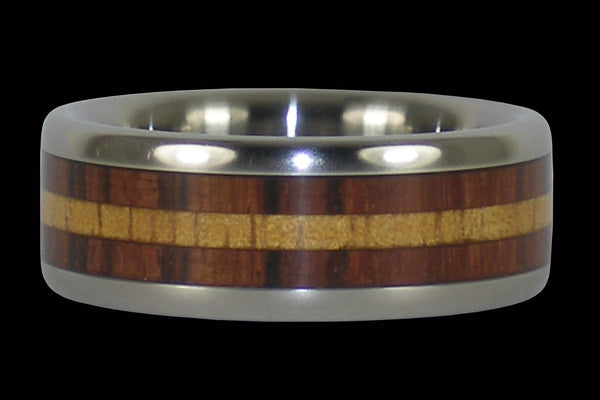 Light Koa and Kingwood Titanium Ring