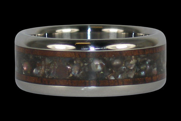 Black Pearl Dark Koa Wood Titanium Ring