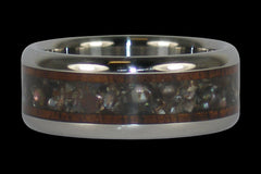 Black Pearl Dark Koa Wood Titanium Ring - Hawaii Titanium Rings  - 1