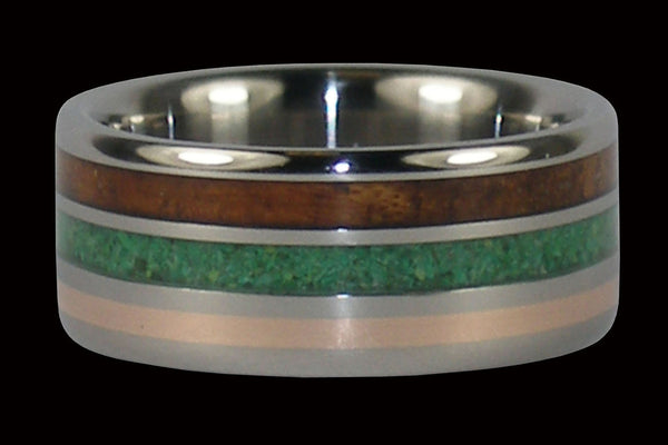 Hawaiian Koa Wood and Green Turquoise Hawaii Titanium Ring®