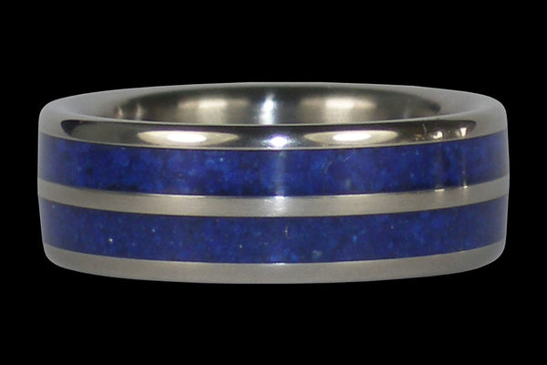 Blue Lapis Titanium Ring Band