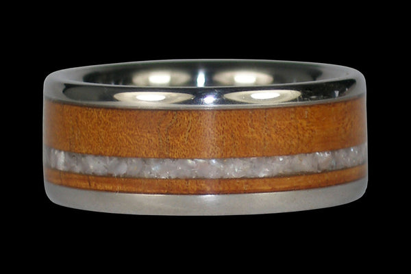 White Pearl and Koa Wood Titanium Ring