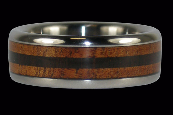Koa and Blackwood Titanium Ring Band