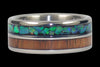 Blue and Green Opal Titanium Ring with Dark Koa Wood - Hawaii Titanium Rings  - 2