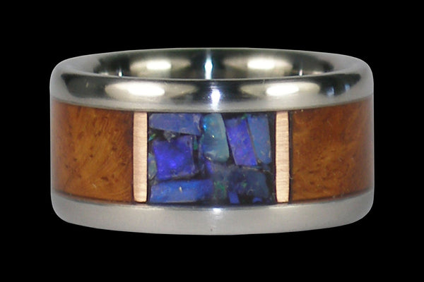 Black Opal and Amboina Wood Titanium Ring