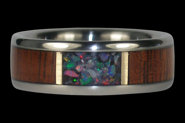 Dark Wood and Opal Titanuim Ring