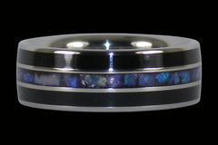 Black Opal Black Jet Titanium Ring - Hawaii Titanium Rings