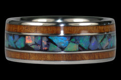 Blue Opal and Koa Titanium Ring - Hawaii Titanium Rings  - 1