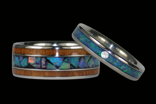 Opal and Koa Titanium Wedding Rings