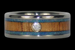 Diamond Blue Opal Titanium Ring - Hawaii Titanium Rings