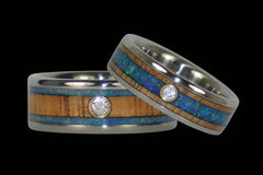 Australian Opal and Wood Inlay Diamond Titanium Rings - Hawaii Titanium Rings  - 1